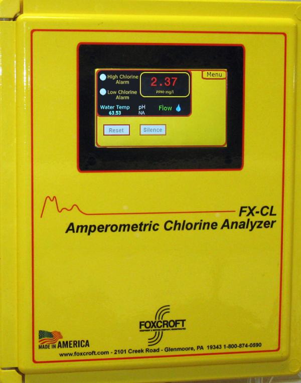 Foxcroft FX-CLF reagentless free chlorine analyzer